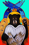 Seraphim Angel Acrylic Prints - Black Bear Seraphim Photoshop Acrylic Print by Christina Miller