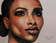 Color Pencil Drawings - Black Beauty 1 by Sheron Petrie