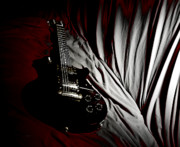 "\""electric Guitar\\\"" Digital Art Framed Prints - Black Beauty Framed Print by Steven  Digman"
