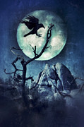 Moonlit Night Prints - Black Bird Landing on a Branch in the Moonlight Print by Jill Battaglia