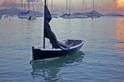 Shrimp Boat Prints - Black Boat and the Sunrise Print by Michael Thomas