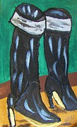 Brown Boots Painting Originals - Black Boots by Michael Knight
