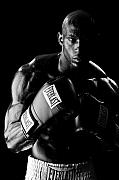 Boxing  Prints - Black Boxer in Black and White 03 Print by Val Black Russian Tourchin