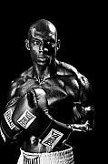 Boxing  Prints - Black Boxer in Black and White 05 Print by Val Black Russian Tourchin