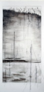 Industrial Drawings Metal Prints - Black Breeze Metal Print by Beth Anne Martin