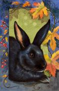 Bunny Paintings - Black Bunny and Fall Border by Melody Lea Lamb