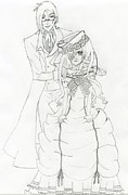 Ball Gown Drawings Framed Prints - Black Butler Fan Art Framed Print by Ashley  Rommel