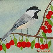 Ruth Housley Metal Prints - Black-Capped Chickadee and Cherries SOLD Metal Print by Ruth  Housley