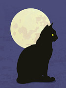 Sitting  Digital Art Posters - Black Cat And Moon Graphic Illustration Poster by Don Bishop