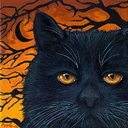 Linda Apple Painting Prints - BLACK CAT and MOON Print by Linda Apple