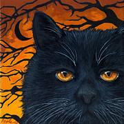 Black Cat And Moon Print by Linda Apple