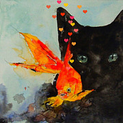 Watercolor Framed Prints - Black Cat and the Goldfish Framed Print by Paul Lovering