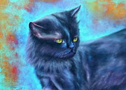 Animal Portraits Pastels Prints - Black Cat color fantasy Print by Gabriela Valencia