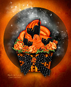 Halloween Card Mixed Media Posters - Black Cat Cupcake Poster by Carol Cavalaris
