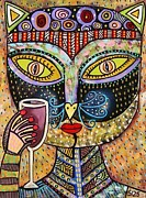 Sugar Skull Posters - Black Cat Drinking Red Wine Poster by Sandra Silberzweig