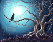 Black Cat Landscape Prints - Black Cat in a Haunted Tree Print by Laura Iverson
