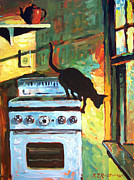 Old Stove Posters - Black Cat in the Kitchen Poster by Roelof Rossouw