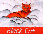 Cats Painting Posters - Black Cat Orange Poster by Michelle Boudreaux