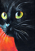 Cute Cat Prints - Black cat painting portrait Print by Svetlana Novikova