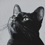 Kittens Paintings - Black Cat by Slade Roberts