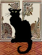Le Cat Framed Prints - Black Cat with Vintage Wallpaper 1 Framed Print by Jerry Schwehm
