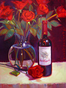 Wine Glasses Paintings - Black Cherry Bouquet by Penelope Moore