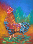 Black Artist Pastels Prints - Black Copper Maran Rooster Print by Yvonne Johnstone