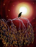 Laura Iverson - Black Crow on White Birch Branches