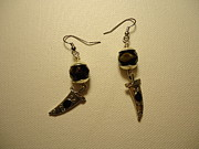Green Jewelry Metal Prints - Black Dagger Earrings Metal Print by Jenna Green