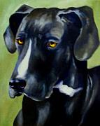 Great Dane Oil Paintings - Black Dane by Donna Teleis