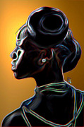 Girl Profile Digital Art - Black Diamonds and Pearls by Byron Fli Walker