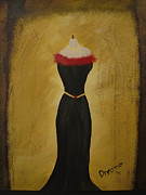 Gold Belt Framed Prints - Black Dress 1 Framed Print by Sherry Haney