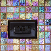 Differences Photo Posters - Black Electric Outlet in Tiled Wall Poster by Jeremy Woodhouse