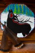 Beads Mixed Media Prints - Black Elk Drum Painting Print by Karon Melillo DeVega
