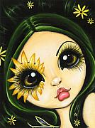 Acrylic Art - Black-Eyed Susan by Elaina  Wagner