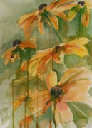 Drippy Posters - Black Eyed Susans Poster by Gretchen Bjornson