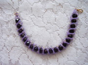 Beadwork Jewelry - Black Faceted Crystals With Violet Bracelet by Yvette Pichette