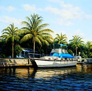 Cruiser Painting Metal Prints - Black Fin Harbor Metal Print by Frank Dalton
