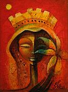 Haitian Paintings - Black Flower Queen by Elie Lescot