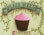 Black Art Paintings - Black Forest Cupcake by Catherine Holman
