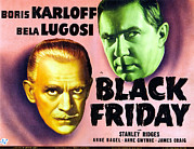 Slicked Back Hair Posters - Black Friday, Left Boris Karloff Right Poster by Everett