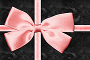 Ribbon Mixed Media Prints - Black Gift Box With Pink Bow Print by Tracie Kaska