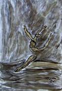 Dancing Girl Drawings Prints - Black Gold Young Female Ballet Dancer in Strong Powerful Striking Jump off the Ballroom Floor Arms Print by M Zimmerman MendyZ