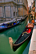 Canals Framed Prints - Black Gondola Framed Print by Peter Tellone