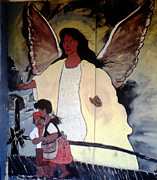 Toy Shop Photos - Black Guardian Angel Mural by Doug  Duffey