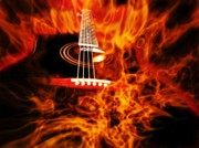 Danger Mixed Media Prints - Black Guitar on Fire - I play with fire Print by Dan Nita