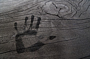 Handprint Prints - Black Handprint on Charred Wood Print by Jetta Productions, Inc