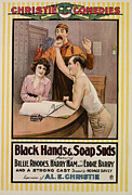 1910s Poster Art Framed Prints - Black Hands And Soap Suds, From Left Framed Print by Everett