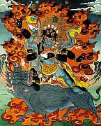 Thangka Framed Prints - Black Hayagriva Framed Print by Sergey Noskov
