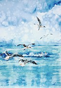 Puerto Rico Painting Posters - Black-headed Seagulls at Seven Seas Beach  Poster by Zaira Dzhaubaeva